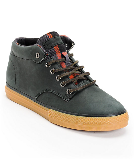 The Hundreds Johnson Mid Black Leather & Flannel Shoes