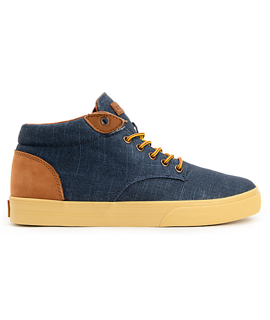 The Hundreds Johnson Mid Navy Linen Skate Shoes