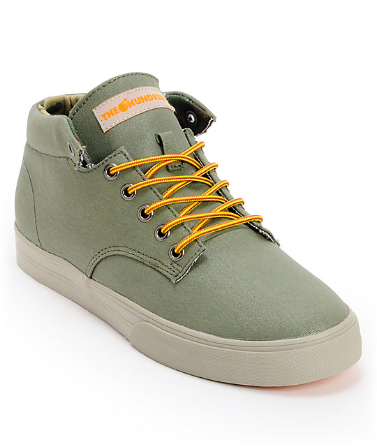 The Hundreds Johnson Mid Olive Waxed Canvas Skate Shoes