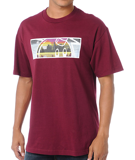 The Hundreds Landscape Burgundy Red T-Shirt