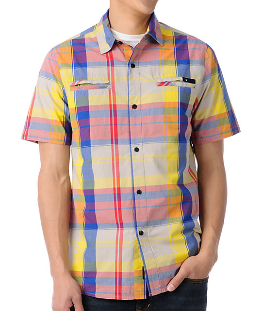 The Hundreds McHenry Red Plaid Button Up Shirt
