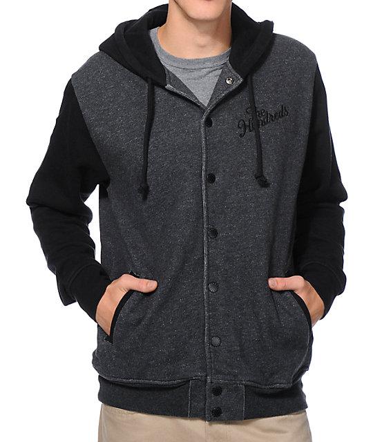 The Hundreds Raphael Black Hooded Varsity Jacket