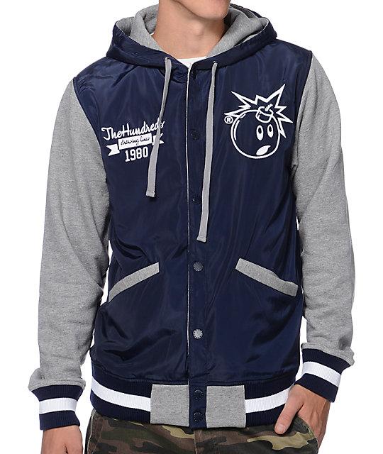 Blue Varsity Jacket With Hood Navy Varsity Hooded Jacket