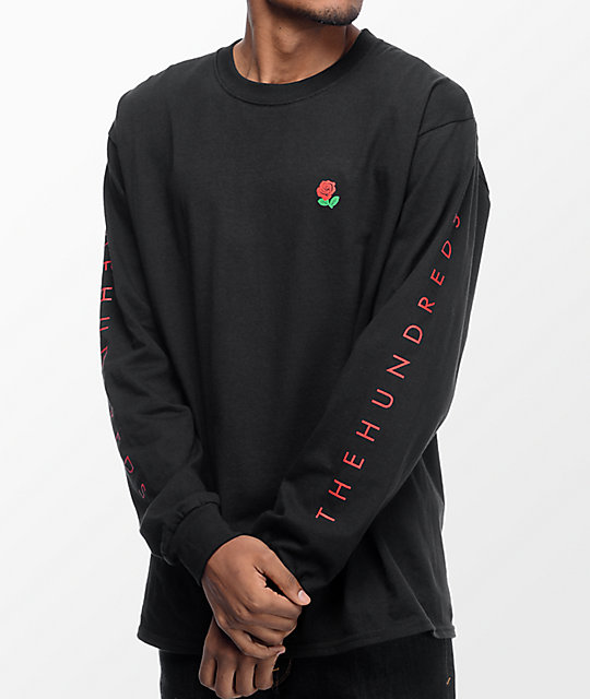 Hundreds Rose Fill Slant Long Sleeve Black T-Shirt