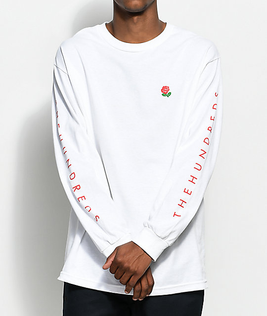 The hundreds rose fill slant white long sleeve t shirt for Mens long sleeve white t shirt