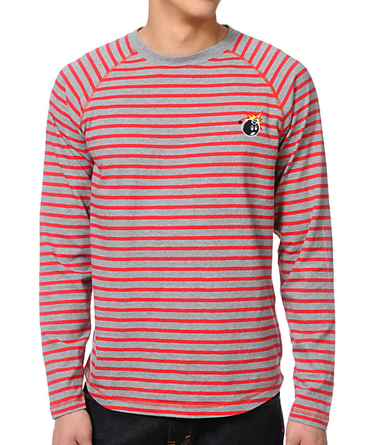 the hundreds rue grey red striped long sleeve t shirt