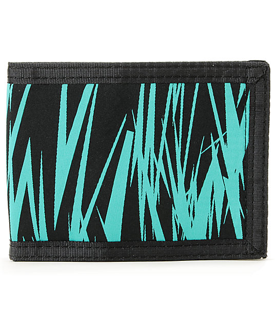 The Hundreds Sam 3 Black & Teal Bifold Wallet