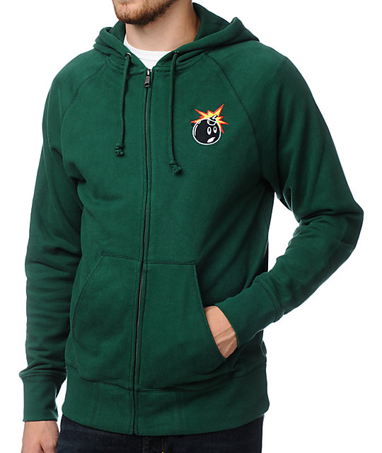 Hundreds Side Green Zip Up Hoodie