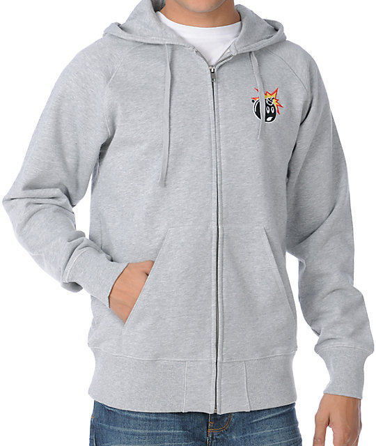 The Hundreds Side Heather Grey Zip Up Hoodie