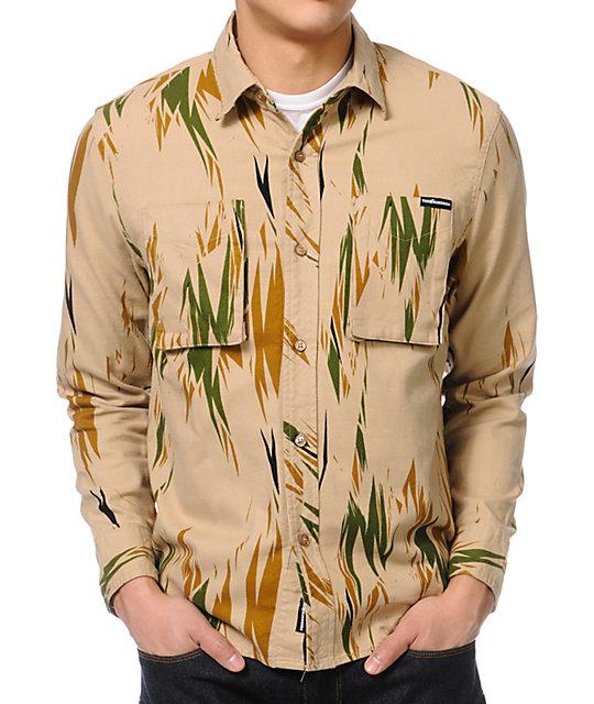 The Hundreds Thistle Print Khaki Long Sleeve Button Up Shirt