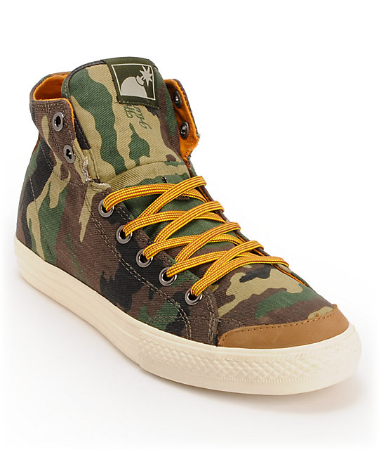 The Hundreds Valenzuela High Camo Print Canvas Skate Shoes