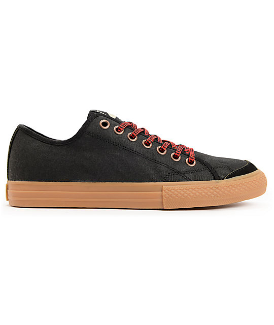 The Hundreds Valenzuela Low Black Waxed Canvas Skate Shoes