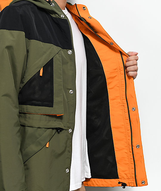 The Hundreds Vanport Olive, Black, & Blaze Orange Jacket