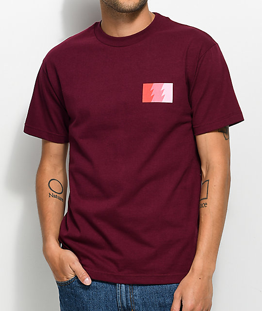 The Hundreds Wildfire Burgundy & Pink T-Shirt