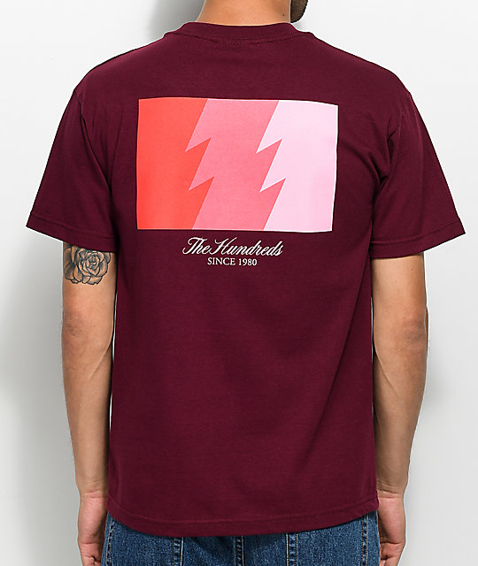 The Hundreds Wildfire Burgundy & Pink T-Shirt | Zumiez