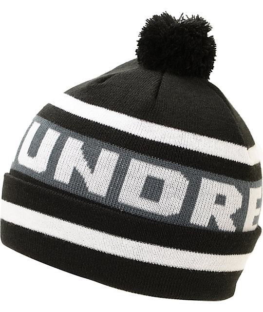 The Hundreds Win Black Pom Cuff Beanie