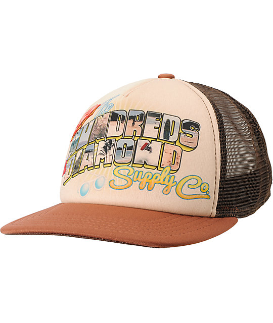The Hundreds x Diamond Supply Brown Snapback Trucker Hat