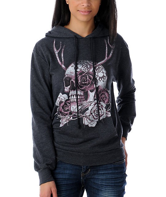 The Kitchen Antler Skull Pullover Charcoal Hoodie