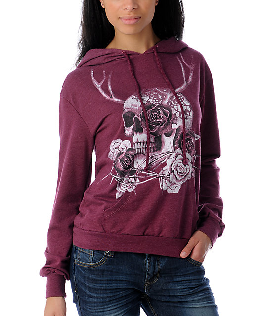 The Kitchen Antler Skull Pullover Magenta Hoodie