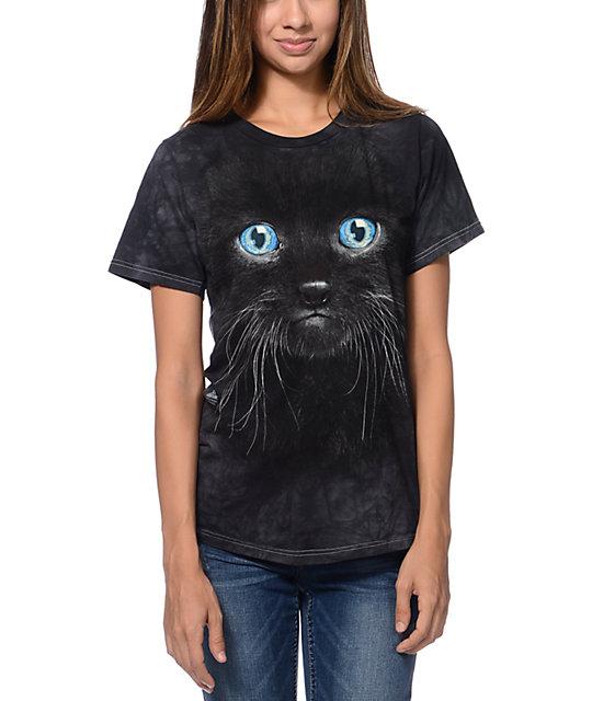 The Mountain Black Kitten Face Black Boyfriend Fit T Shirt