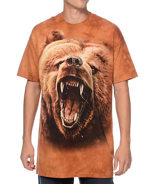 The Mountain Grizzly Growl Brown Tie Dye T-Shirt