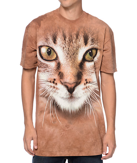 The Mountain Striped Cat Brown Tie Dye T-Shirt