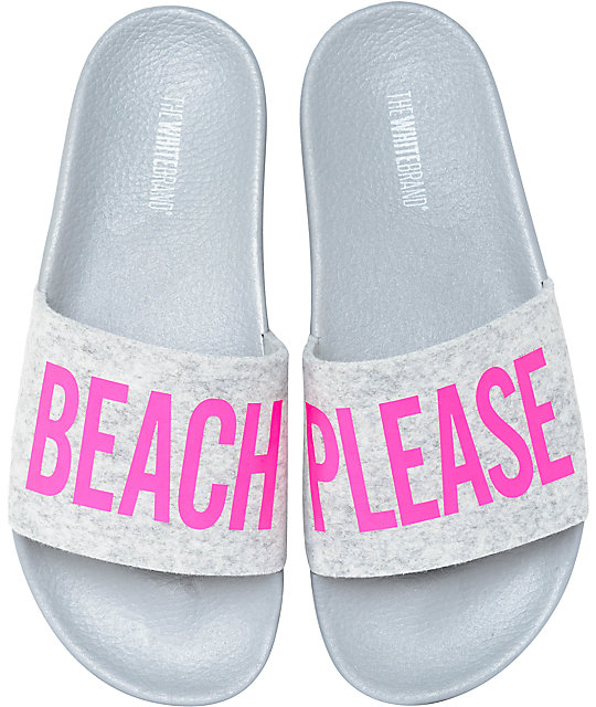 TheWhiteBrand Beach Pink Felt Slide Women's Sandals