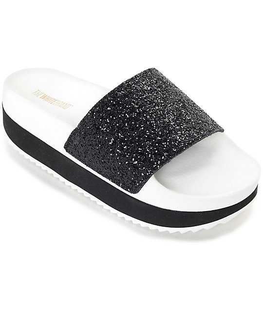 TheWhiteBrand Black Glitter Platform Slide Women's Sandals