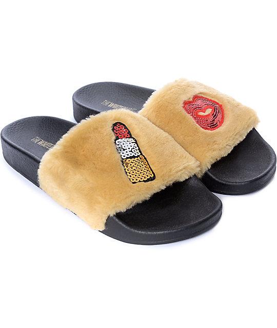 TheWhiteBrand Fur Beige Slide Women's Sandals