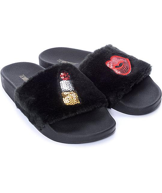 TheWhiteBrand Fur Black Slide Women's Sandals