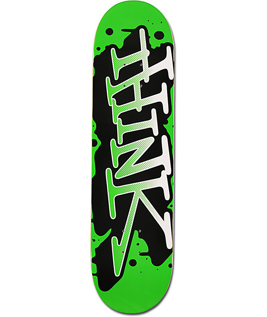 Think Skateboards Green & White Spray Tag 8.25