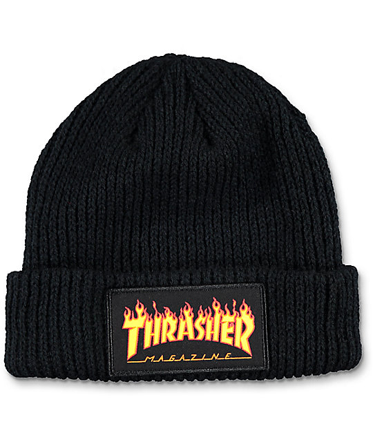 Thrasher Flame Logo Black Beanie