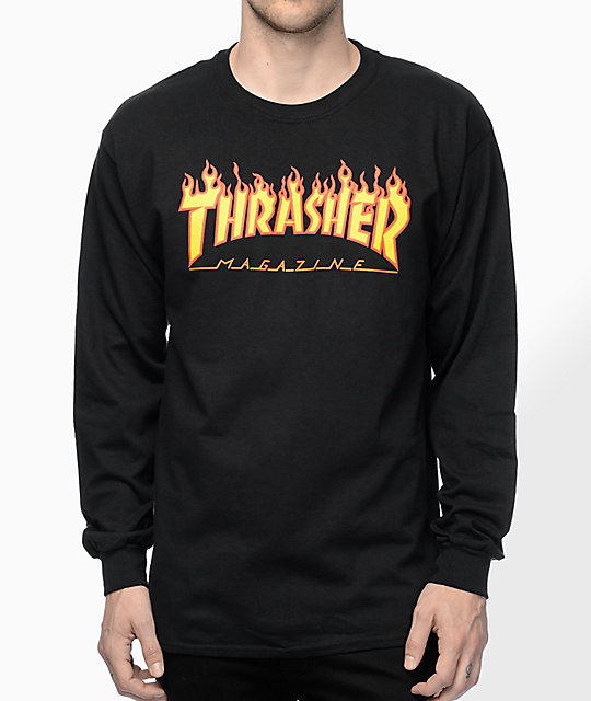 Thrasher Flame Logo Black Long Sleeve T-Shirt at Zumiez : PDP