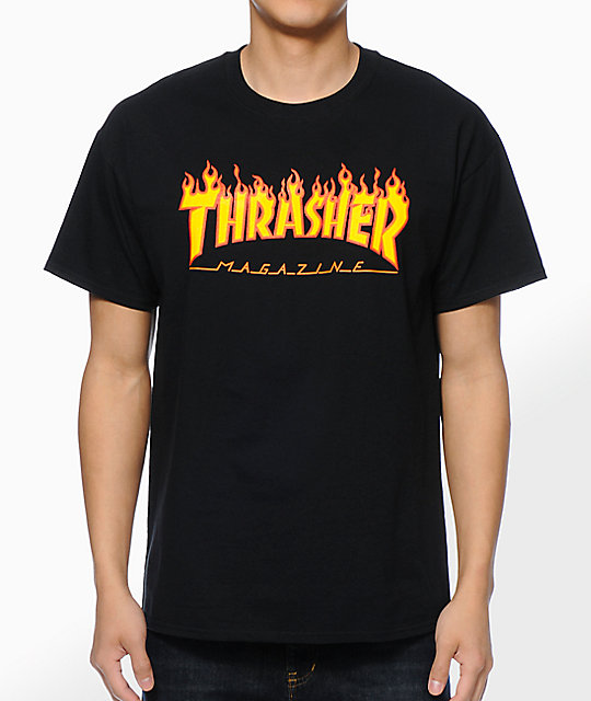 Thrasher Flame Logo Black T-Shirt at Zumiez : PDP