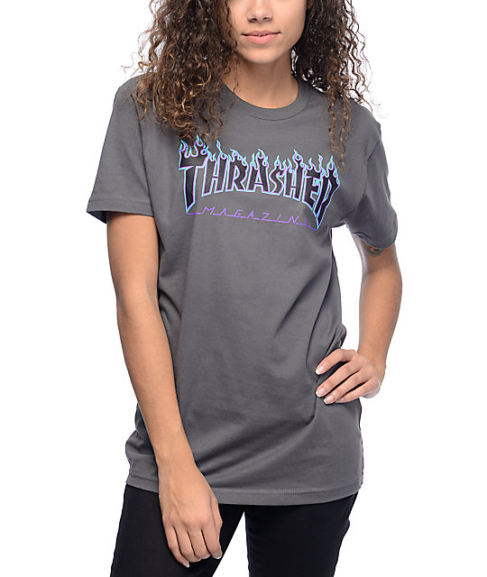 Thrasher Flame Logo Grey T Shirt