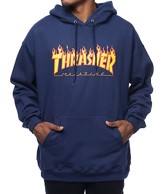 Flame Logo Navy Pullover Hoodie