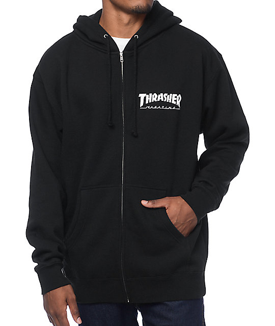 Thrasher Logo Black Zip Up Hoodie at Zumiez : PDP