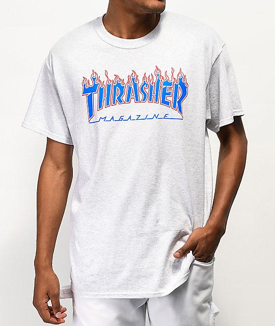 Thrasher Magazine Patriot Flame Ash Grey T Shirt At Zumiez