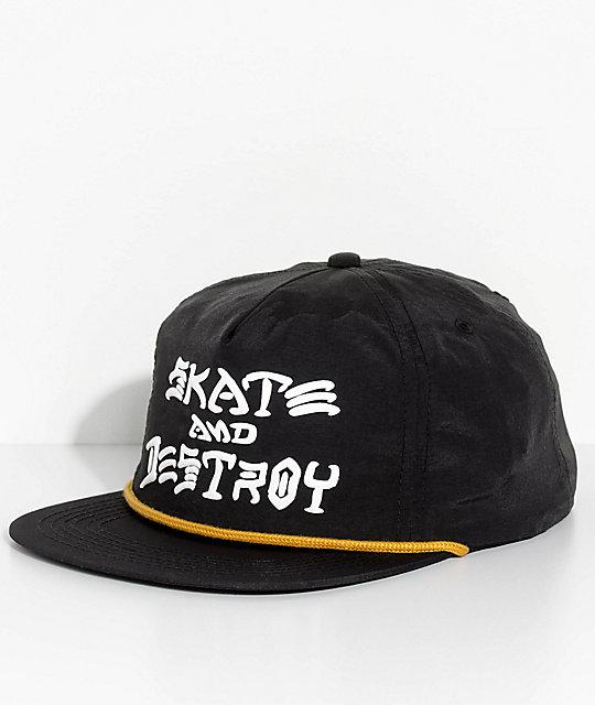 Thrasher Skate And Destroy Black Snapback Hat