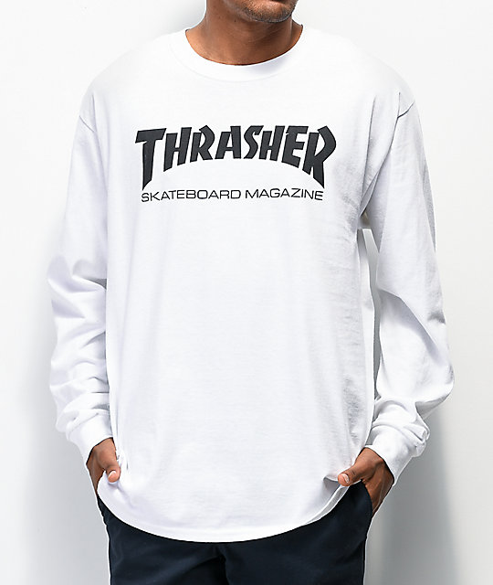 Thrasher Skate Mag Long Sleeve White T-Shirt at Zumiez : PDP