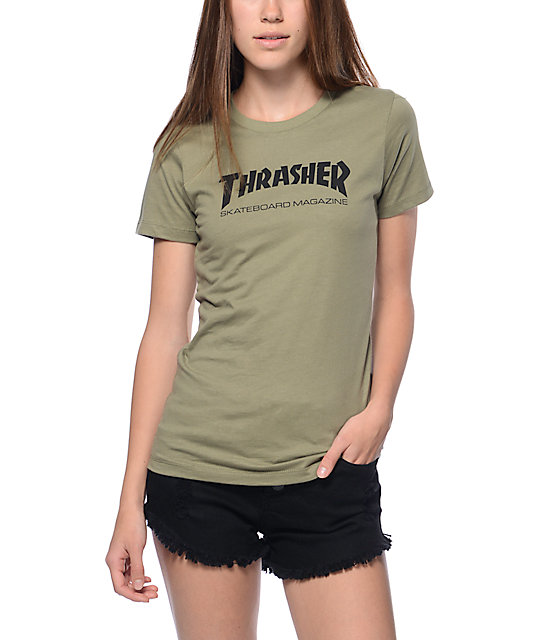 Thrasher skate magazine green slim fit t shirt zumiez for What is a fitted t shirt