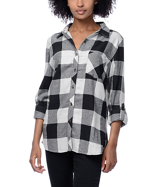 Thread & Supply Bexly Charcoal & Whit Plaid Shirt