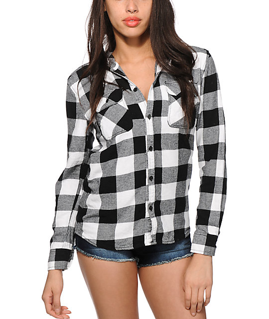 Thread & Supply Black & White Hooded Flannel