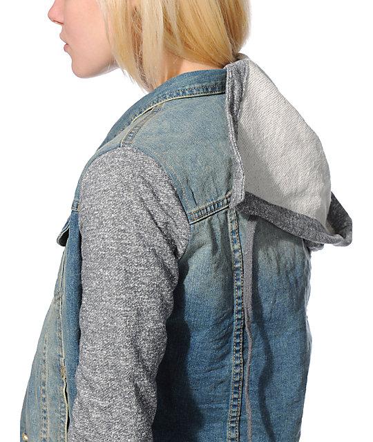 Thread & Supply Grey & Light Wash Hooded Denim Jacket