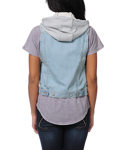 Thread & Supply Hooded Light Wash Denim Vest