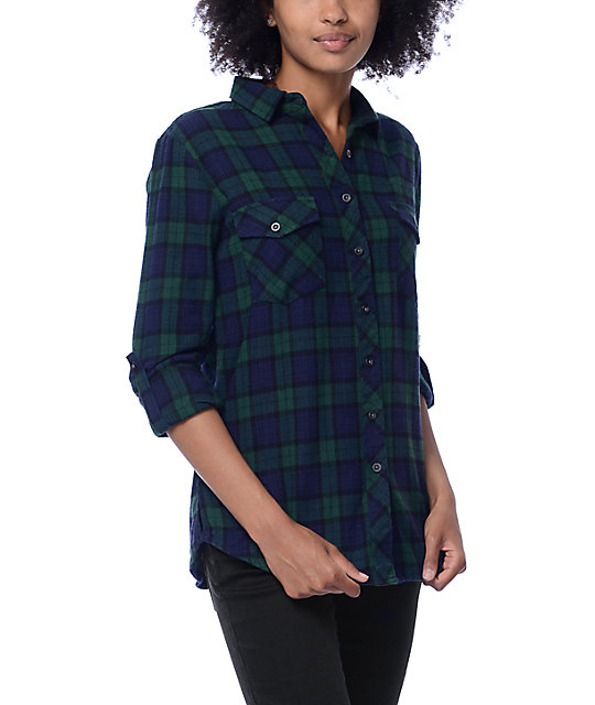 Thread & Supply Odessa Green & Navy Plaid Shirt