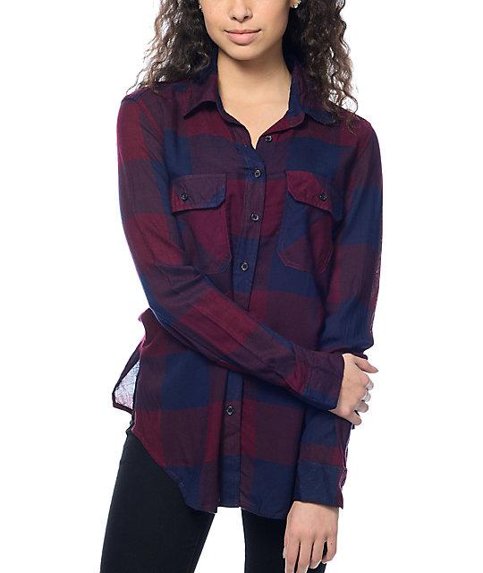 Thread & Supply Owen Burgundy & Navy Oversized Plaid Shirt