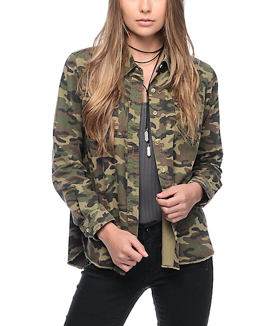 Thread Supply Camo Button Up Shirt At Zumiez Pdp