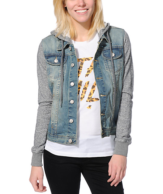 Thread &amp Supply Grey &amp Light Wash Hooded Denim Jacket at Zumiez : PDP