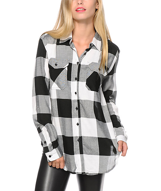 & Supply Oversized Black Plaid Shirt